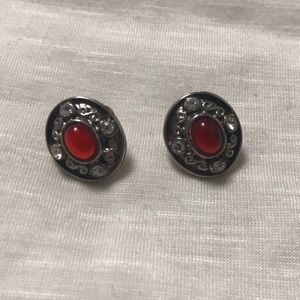 Silver post earrings with a red and clear gems